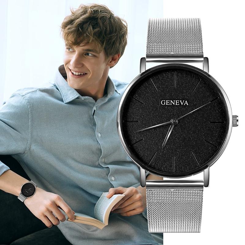 GENEVA Luxury Brand Men's Watch Ultra-thin Watch Men Business Watch Fashion Business Watch Erkek Kol Saati Relogio Masculino