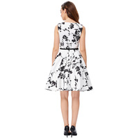 Flowers Style Prom Women 50s 60s Dress Floral Swing Pin Up Retro Housewife Dress
