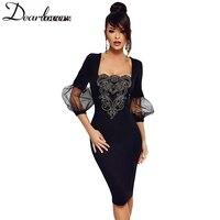 Dear Lover Embroidery Vintage Midi Dress Lantern Sleeve Elegant Black Bodycon Dress 2018 Spring Sexy Party
