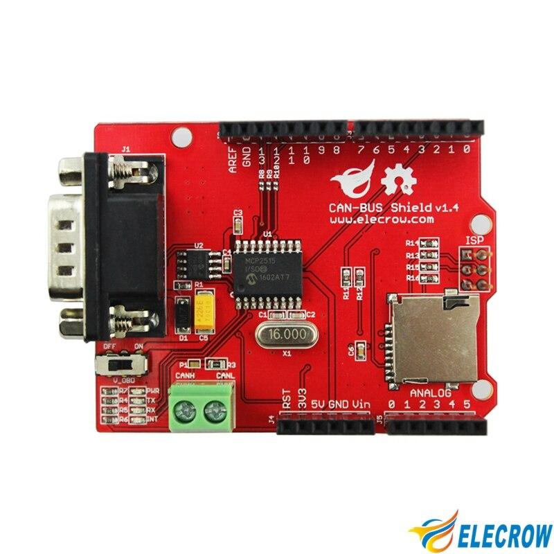US $11 33 37% OFF|Elecrow CAN BUS Shield for Arduino Mega Leonardo  Microchip MCP2515 CAN Controller Transceiver MicroSD Card DIY GPS  Connect-in