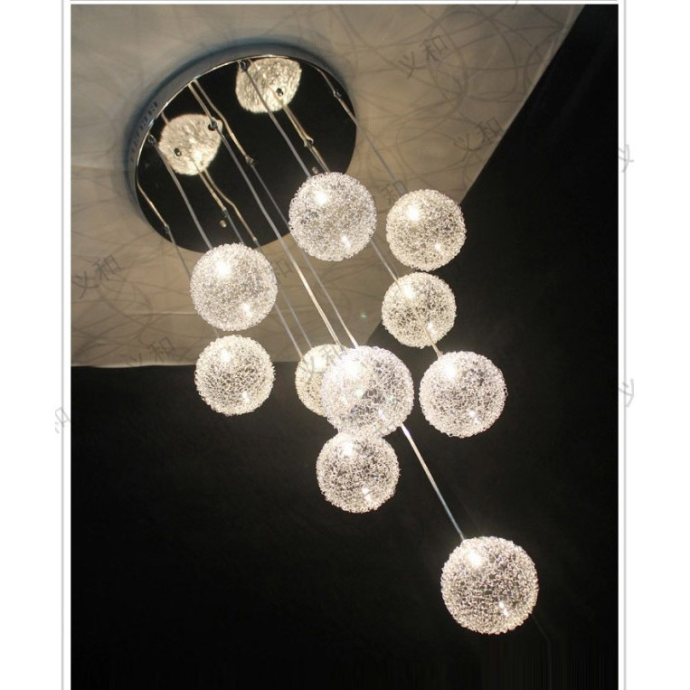 10 Lights Aluminum Wire Glass Balls Stair Pendant Light Living Room Restaurant Flashy Kitchen Dining