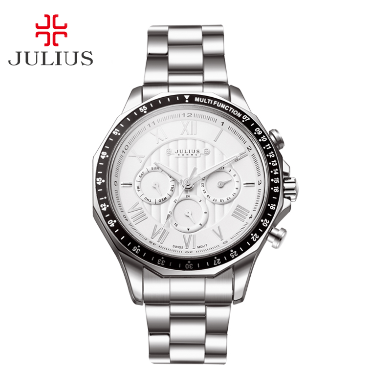 Real Functions Men's Watch ISA Mov't Hours Clock Business Dress Bracelet Stainless Steel Boy Birthday Gift Julius 091 real multi functions big men s watch japan mov t hours business top homme clock stainless steel boy s birthday gift julius box