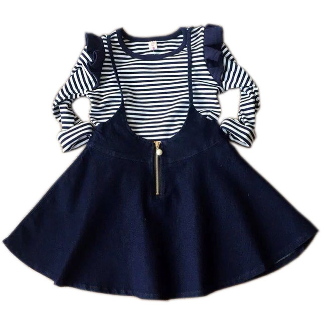 ec16957b7 2015 New Girls Clothing Sets Outfits Long-sleeve Shirt And Denim Strap  Skirt Sets Girl Suit Girl Dress Set Korean Kids Clothes