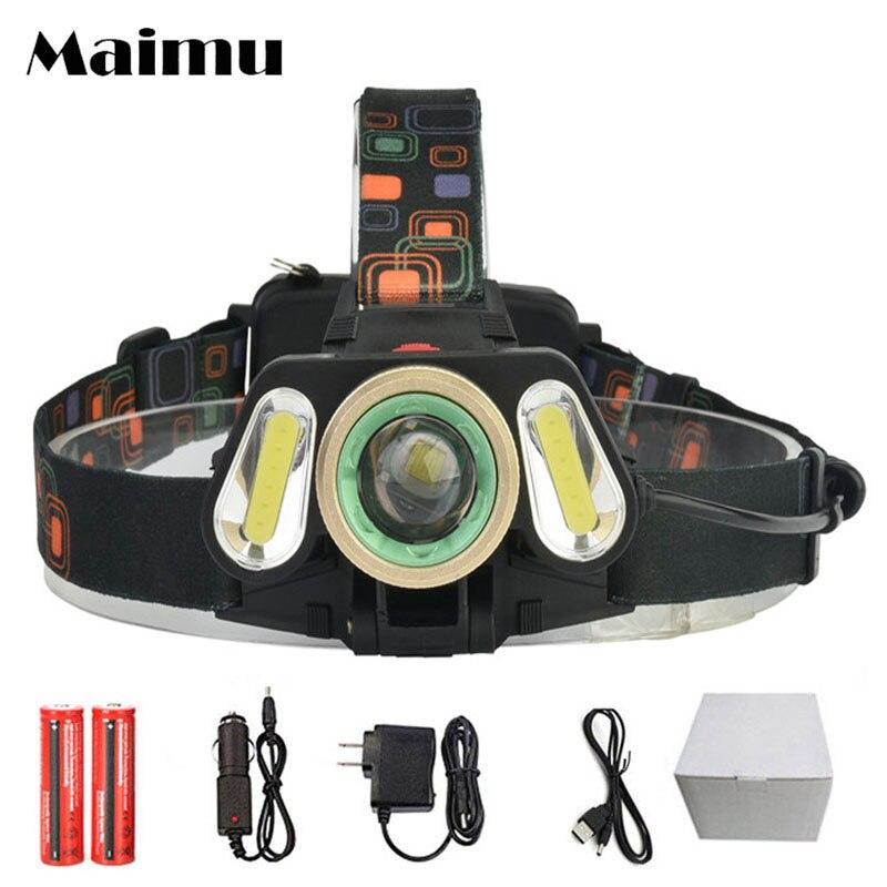 Maimu Zoom COB Headlamp XML-T6 LED Power Light Headlight Waterproof Camping Lantern Searchlight 4 Modes Head Torch Light D19 xml t6 waterproof zoom led torch light