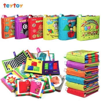 My First Soft Book,teytoy 6 PCS Baby Cloth Books Early Education Toys Activity Crinkle Cloth Book for Toddler, Infants