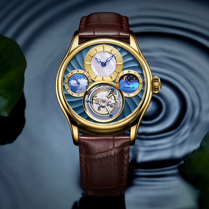Can Lettering Top Brand Mens Self Winding Mechanical Automatic 24 Gold Plated Leather Strap Original Tourbillon Hollow Movement