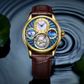 Kan Belettering Top Merk Mens Self Winding Mechanische Automatische 24 Vergulde Lederen Band Originele Tourbillon Holle Beweging