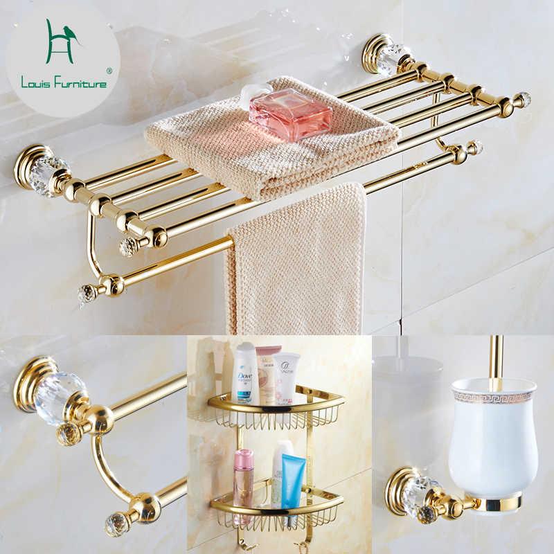 Модные наборы мебели для ванной комнаты Луи позолоченная стойка банного