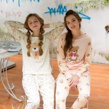 Autumn Winter Women Pajamas Cute Character Bear Sleepwear Cotton Long Sleeve Sleep Lounge Casual Cartoon Girls Pyjama Homewear