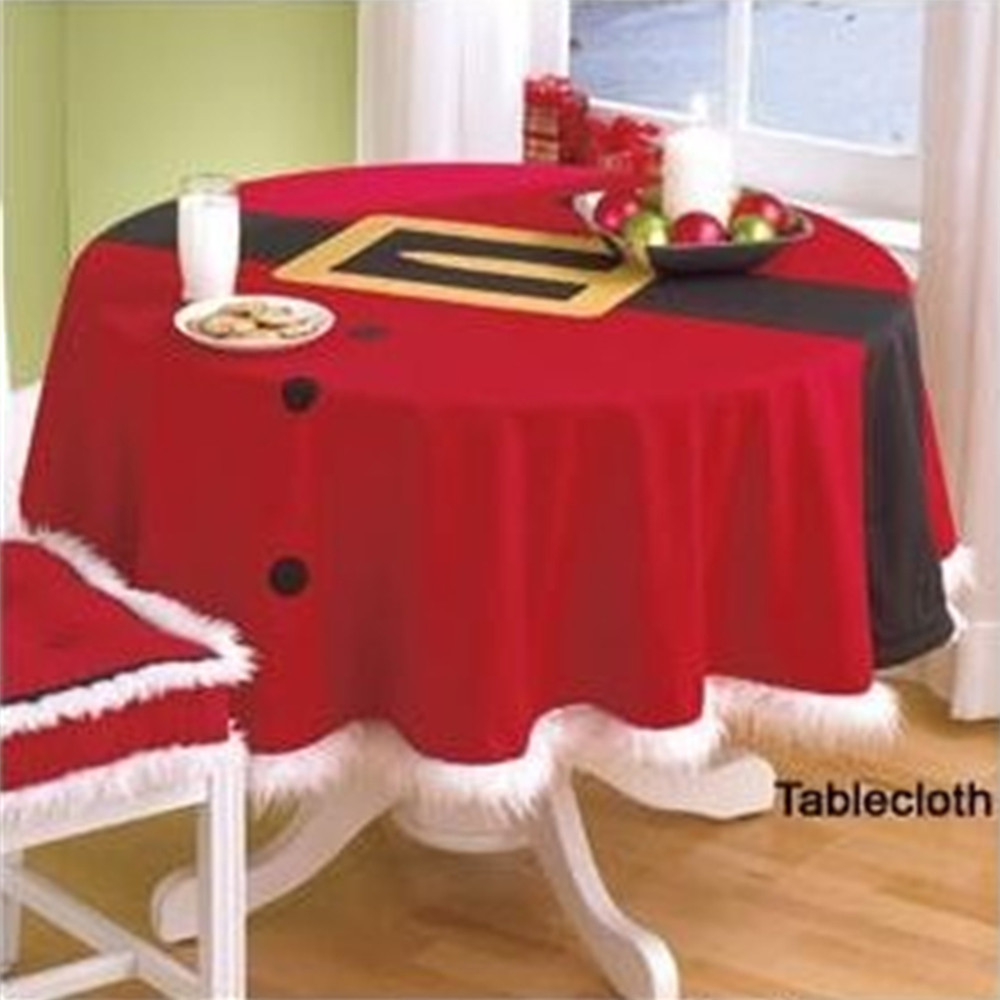 Marvelous Christmas Round Red Table Cloth 148 Cm Household Festival Dinner Decor  Tablecloth Party Decoration(China