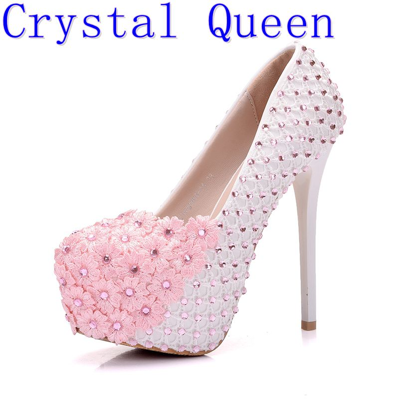 Crystal Queen White Lace Flowers Women High Heels Shoes Round Head Paltform Bridal Shoes Wedding Shoes