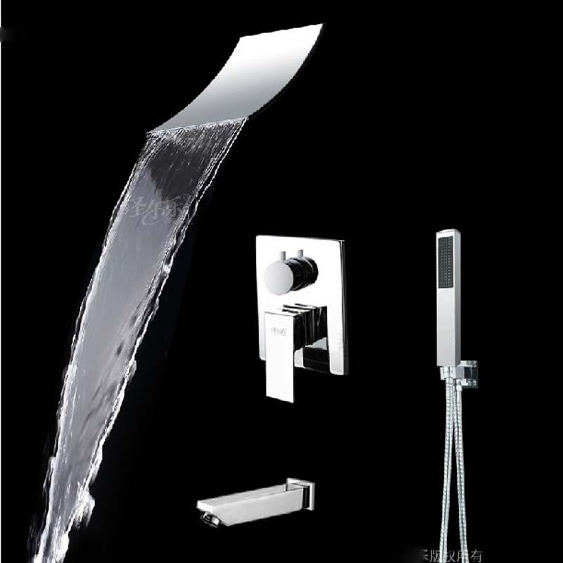 Wholesale And Retail 3 Ways Valve Mixer Tap Waterfall Shower Faucet Set Tub  Spout Diverter wPopular Diverter Valve Hot Cold Bath Shower Mixer Buy Cheap  . Wall Mount Tub Faucet With Shower Diverter. Home Design Ideas