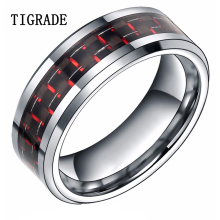 TIGRADE 8mm Black Men Tungsten Ring Comfort Fit Red Woven Pattern Inlay Wedding Engagement Band Tail Size 6-13 Wholesale