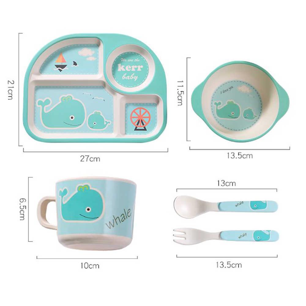 5Pcs Peralatan Makan Anak Mangkuk Makan Sendok Garpu Piala Cantik Portabel Hidangan Kartun TK Serat Bambu Bayi Piring