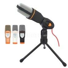 Kebidumei micrófono de mano profesional con conector de 3,5mm, micrófono estéreo de sonido con cable y soporte para PC de escritorio