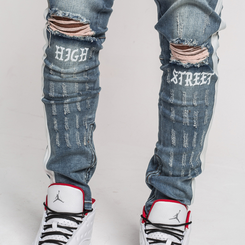 1105f310b0e5 JaKar Ripped Side Stripe Jeans Men Blue Slim Fit Skinny Male Jeans 2018 New Vintage  Zipper Motorcycle Biker Denim Jeans Pants | Shop JZY