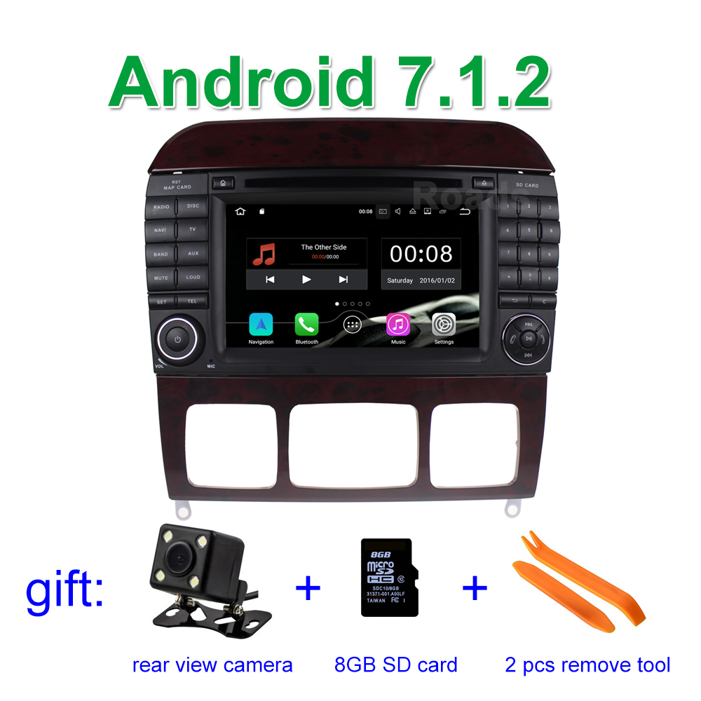 2 Din 1024*600 Android 7.1.2 Car DVD Player for Mercedes/Benz S class W220 W215 S280 S430 S500 with WiFi GPS Radio 2 GB RAM