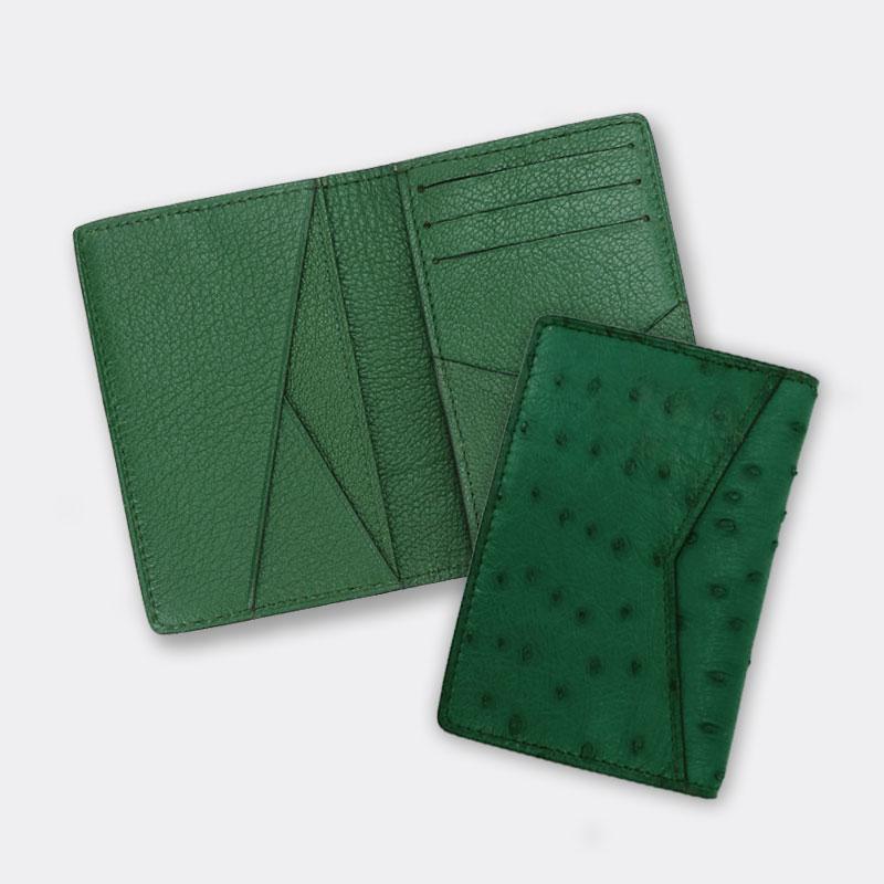 Unisexe luxe véritable peau d'autruche en cuir porte-carte de crédit hommes à deux volets cas de porte-carte pour une utilisation professionnelle