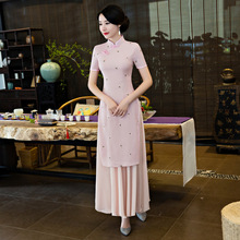 New Vietnam Odia Embroidered Qipao Cotton Linen Cheongsam Skirt Chinese Style Long Fashion Cheongsams Q-4