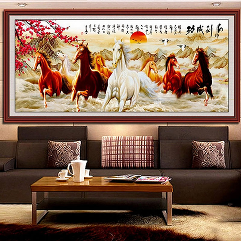 DIY 5D Horses Embroidery Diamond Painting Cross Stitch Kits Home Decor Crafts