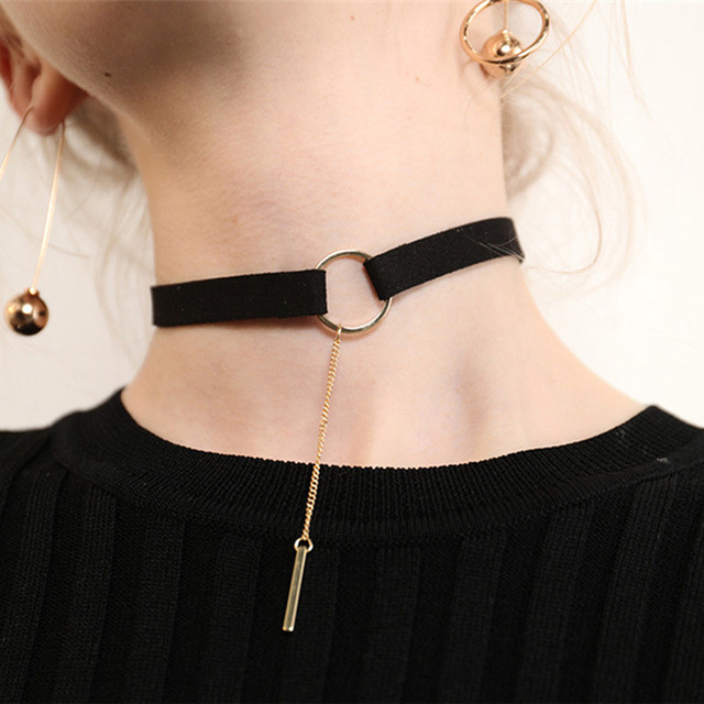 3b0e55efd2e44 US $0.52 25% OFF Punk New Fashion 4 Colors Leather Choker Necklace Women  Gold Color Geometry With Round Pendant Collar Necklace For Girls Gifts-in  ...