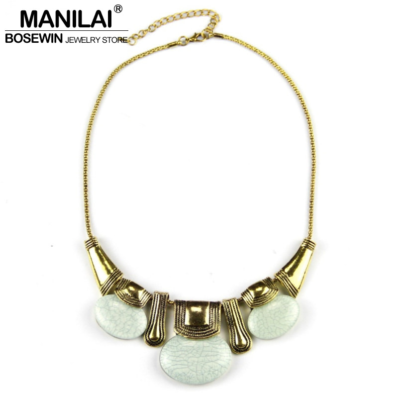 Manilai Classic Style Vintage Chain Oval Resin Women Pendant Necklace Fashion Accessories Choker