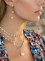 S925 Sterling Silver bay leaf Necklace blue stone nature pearl choker Zircon laurel leaf Pendant for Women jewelry Brand Monaco