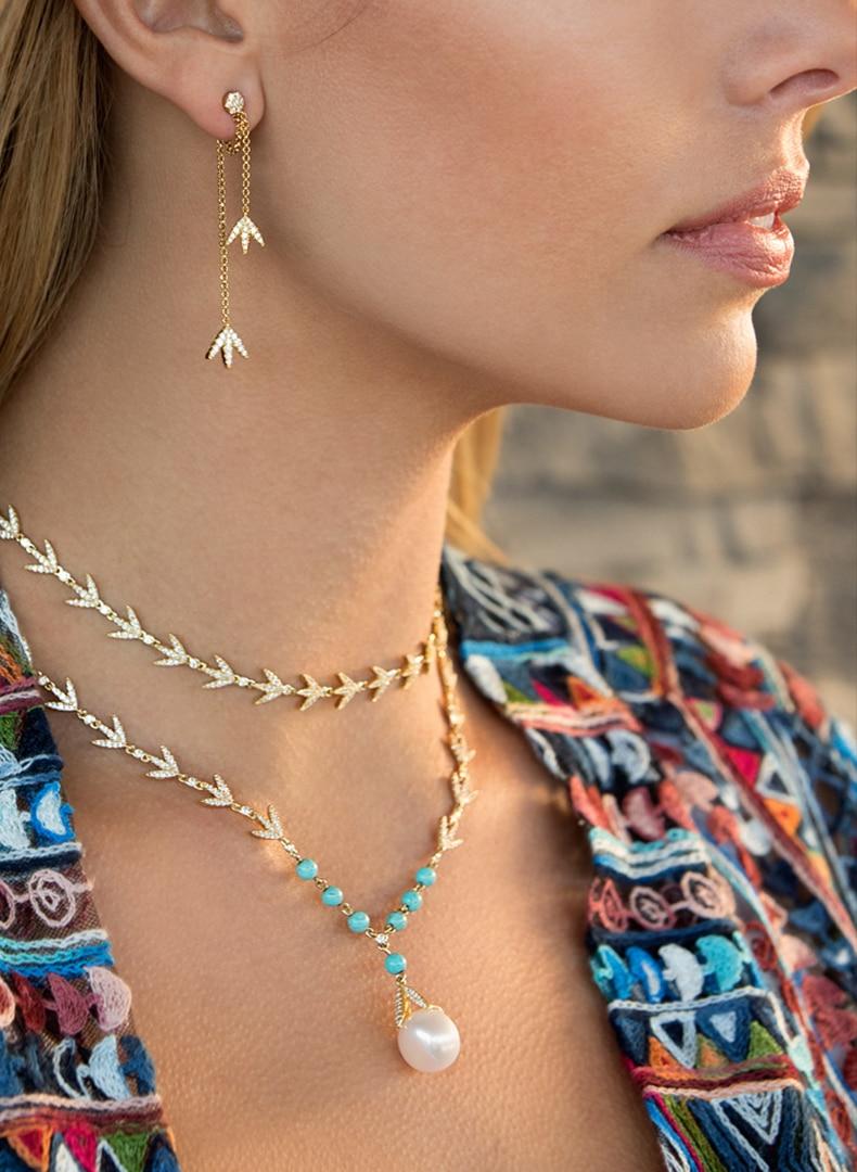 S925 Sterling Silver liść laurowy naszyjnik niebieski kamień natura perła choker cyrkon liść laurowy wisiorek dla kobiet biżuteria marka monako w Naszyjnik z wisiorkiem od Biżuteria i akcesoria na  Grupa 1