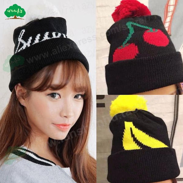 striped beanies Fruits sweet banana Cherry outdoors cute beanie caps new winter slouch sport knitted hats for women kawaii fresh summer fruits banana