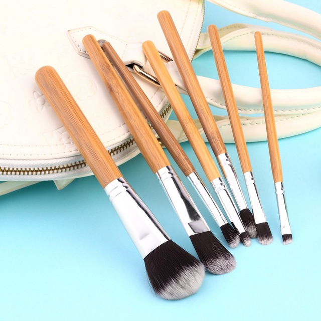 11pcs Bamboo Handle Foundation Blending Makeup Brushes Set Flat ...