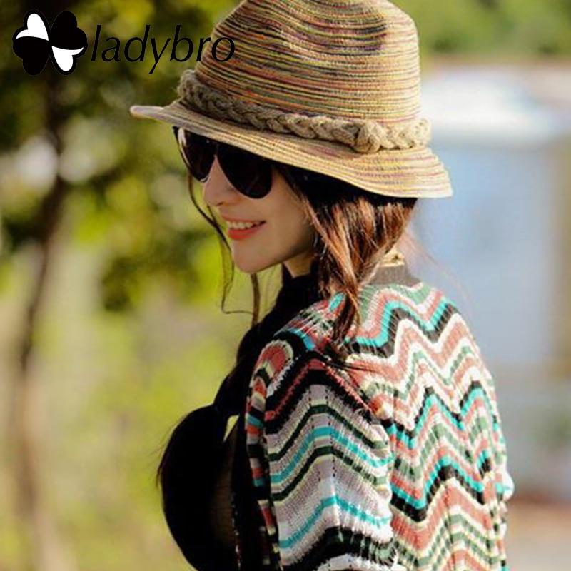 Ladybro Jazz Mulheres Chapéu de Sol de Praia Feminino Chapéu de Palha  Crianças verão Listrado Do a0b499f2963