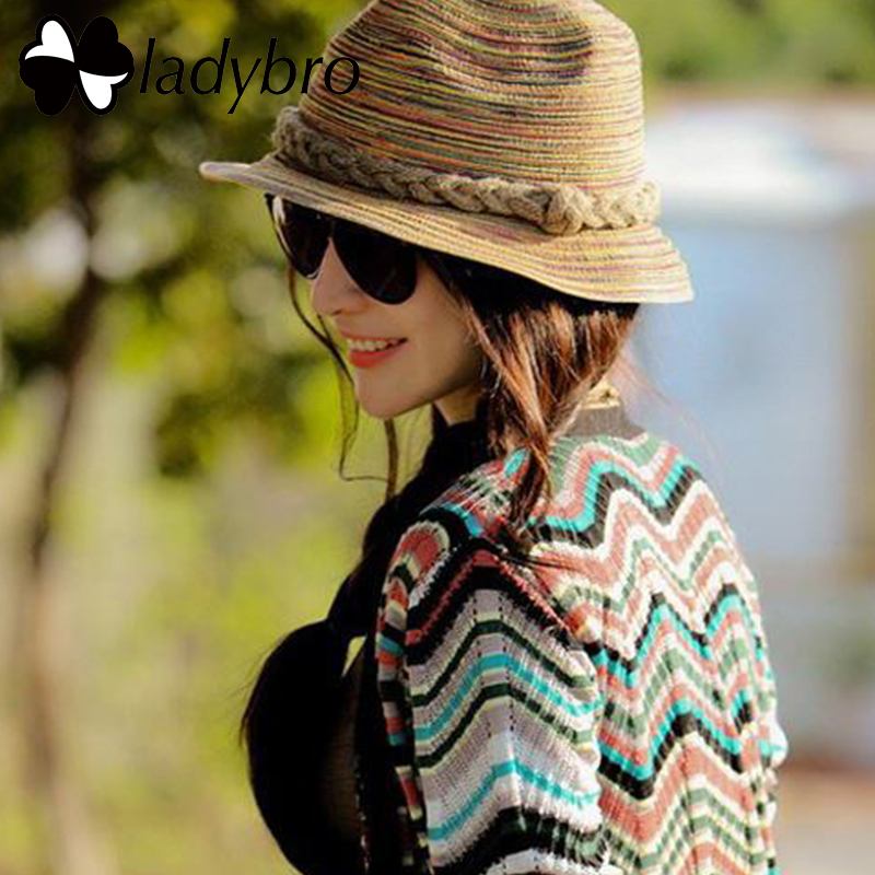 Kapelë kashte Ladybro Jazz Femra Beach Women Women Sun Sun Verë - Aksesorë veshjesh
