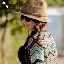 Ladybro džeza salmu cepure sieviešu pludmales sievietēm saules cepure vasaras krāsains svītrains varavīksnes salokāmas salmu cepures sievietēm pludmales galvassegas