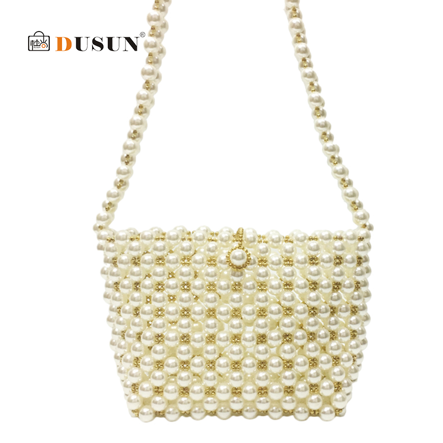 купить DUSUN Women Pearl Bag Korean Luxury Design Handmade Beaded Woven Bag Female Evening Sac Shoulder Messenger Bags Bolsa Feminina недорого