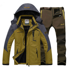 Winter Men's Camping Skiing Jacket Pants Suits Waterproof Fleece Snow Outdoor Hunting Climbing Thermal Sets Sports Coat Trousers недорого