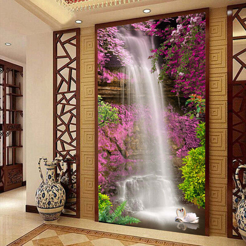 3d Flower Mural Wallpaper Waterfall Swan Photo Wallpaper Custom 3d Wallpaper Natural