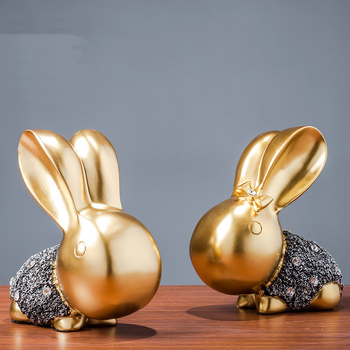 Cute couple rabbit craft home sculpture decoration Personality abstract rabbit office shop decoration statue