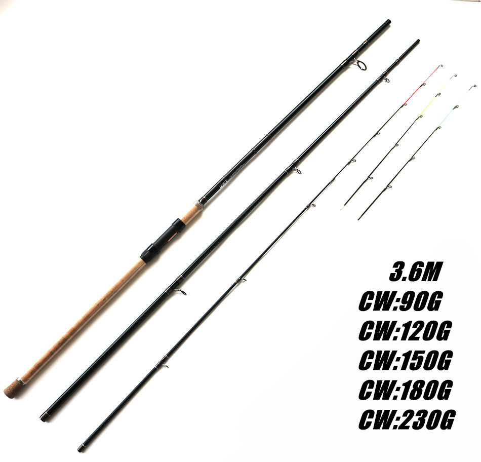High Carbon 3.6m CW90 CW120 CW150g CW180g CW230g 3 + 3 Section Feeder Rods Cork Handle Carbon Fiber Feeder Rod yamaha pneumatic cl 16mm feeder kw1 m3200 10x feeder for smt chip mounter pick and place machine spare parts
