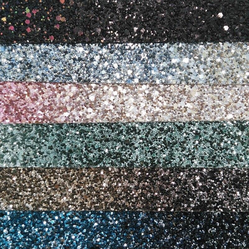 91x134 cm cuir synthétique, dégradé couleur Chunky paillettes cuir tissu bricolage accessoires P1984
