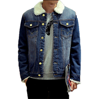 New Brand Mens Denim Thick Jacket Autumn Winter Warm Jeans Brushed Casual Coat Long Sleeve Cool