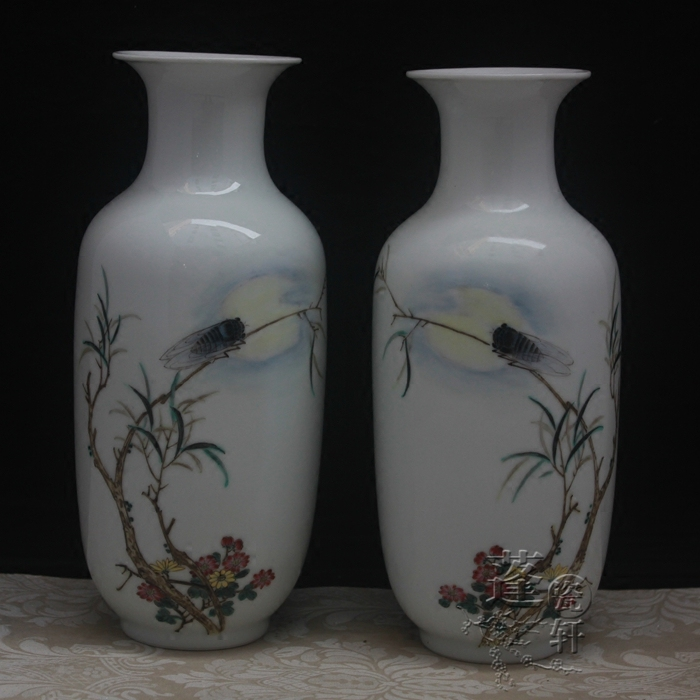 Jingdezhen ceramic vase ornaments celebrity hand-painted antique Fencai animal jewelry Home Furnishing cicada bottle willow cicaJingdezhen ceramic vase ornaments celebrity hand-painted antique Fencai animal jewelry Home Furnishing cicada bottle willow cica