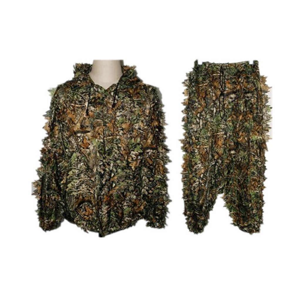 狩猟のghillieスーツ3d迷彩バイオニック葉迷彩ジャングル森林バードウォッチングポンチョマント狩猟服ジャケット耐久性