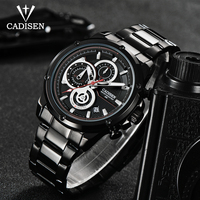 CADISEN Mens Watches Top Brand Luxury Timer Date Quartz Watch Man Fashion Sports Stainless steel Wristwatch Men Waterproof Clock Quartz Watches