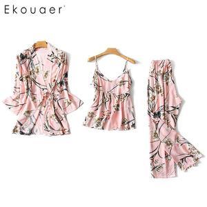 Image 3 - Ekouaer pyjama dété en Satin de soie, manches longues, motif Floral, ample, Kimono, pour femmes, ensemble de vêtements de nuit