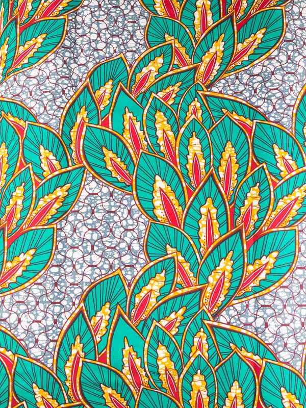 African Batik Fabric Real Wax Hollandais Green Red Plants