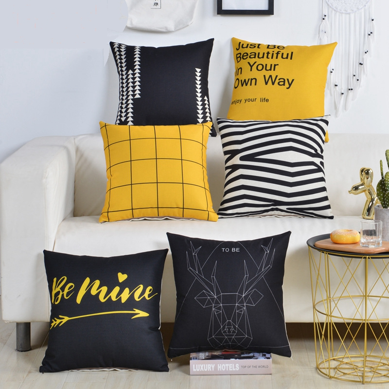 Contemporary Sofa Geometric Pillows: Geometric Yellow Black Pillow Cushion Cover Cotton Linen