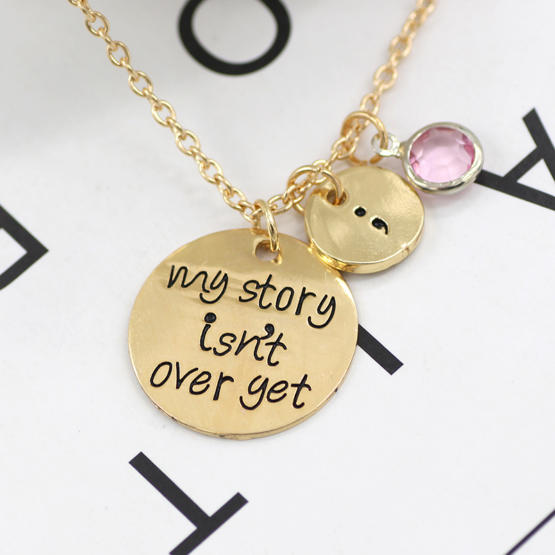 Jewelry & Access. ...  ... 32796769023 ... 2 ... Carved My Story Isn't Over Yet Semicolon Necklace Pink Blue Crystal Bead Charm Pendant Gifts For Women Girl Family Collier Femme ...