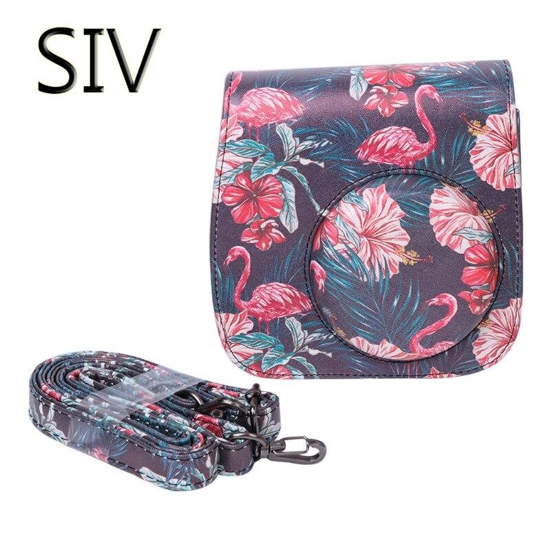SIV Caméra Sac Instax Mini 8/9 Caméra Sacs Faux Cuir Bandoulière Housse de Pour Fujifilm