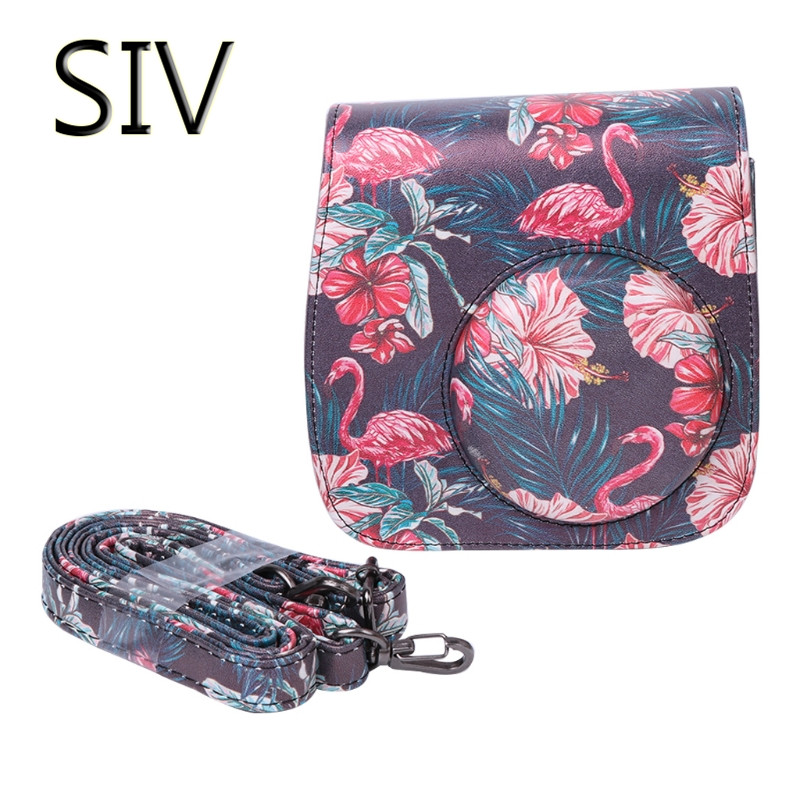 SIV Camera Bag Instax Mini 8 9 Camera Bags Faux Leather Shoulder Strap Case Pouch For