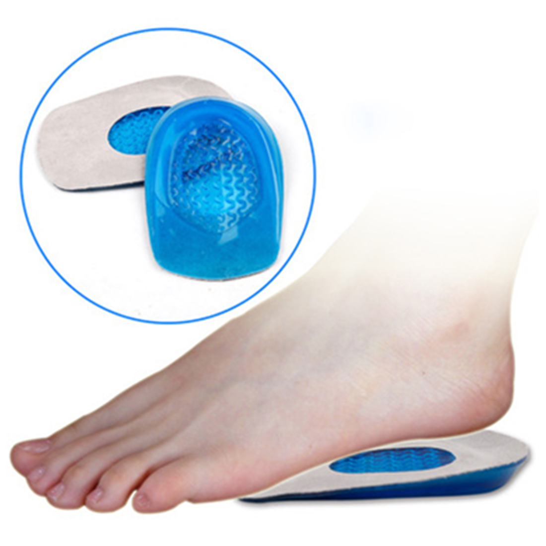 Blue Soft Silicone with Cloth Feet Cushion Heel Support Insert Pad Comfy Orthotic Shoes Insole Heelpiece Foot Care Tool 1 Pair